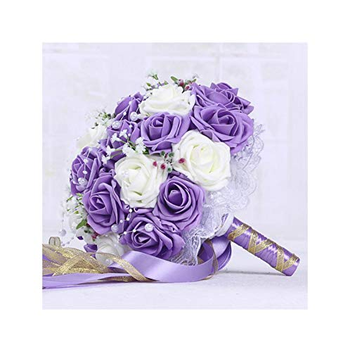 Misscany 30 Rose Wedding Bouquets Handmade Bridal Flower Wedding Party Gifts Wedding Accessories Flowers Pears Beaded with Ribbon,Purple Plus White