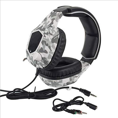 Auriculares de PC con cable de alta gama RGB Auriculares de juego para auriculares de juegos móviles E-Sports con micrófono Estéreo Surround USB Auriculares para PC y portátil, Negro (Color: Camuflaje