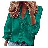 AMhomely Camisetas de verano para mujer, con volantes de verano, cuello en V, manga corta, estampado floral, talla grande, elegante, talla grande