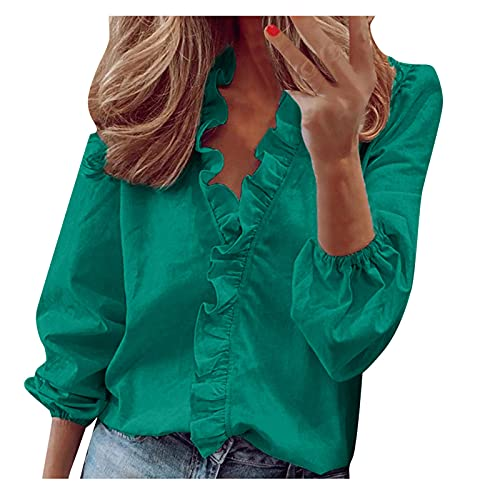 Summer Tops for Women Sale,Ladies Casual Full Sleeve V-Neck Tops Loose Shirts Plus Size Ladies Clothing Plus Size Elegant UK Size