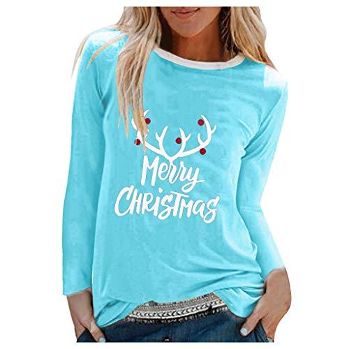 Xmiral Bluse Damen Langarm Rundhals Shirt Buchstabe Drucken Hemden T-Shirt Patchwork Beiläufiges Feiertags-Shirt Pullover(d Blau,S)