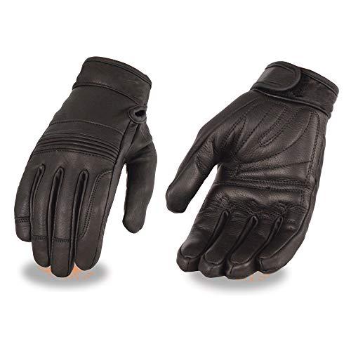 Milwaukee Leather MG7735 Ladies 'Flex Knuckles' Black Premium Leather Gloves with Gel Palms - Medium