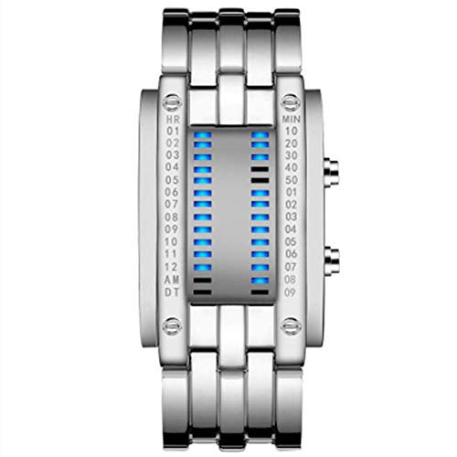 AYDQC Enfriar Binario Digital Relojes de Plata de Acero Inoxidable única Matriz de LED Azul Creativo de la Manera estudiantiles Pareja Impermeable Relojes de Pulsera fengong (Size : Men)