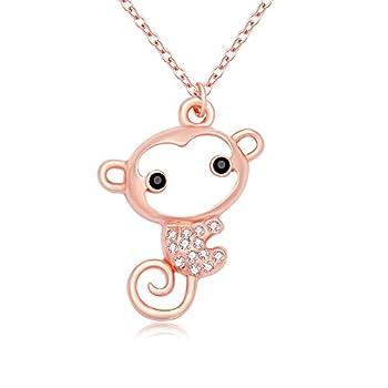 PANGRUI Cute Cartoon Big Face Crytal Monkey Pendant Animal Necklace for Women