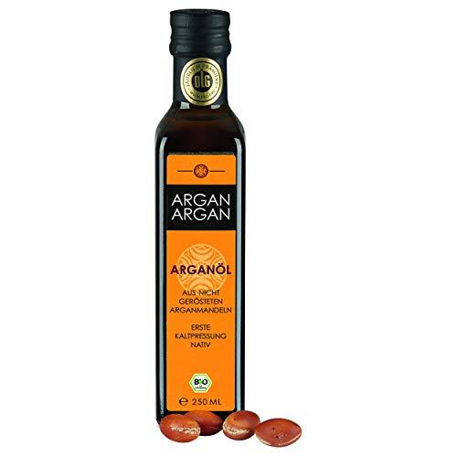 ARGANARGAN Bio-Arganöl, ungeröstet 250ml, kaltgepresst, DLG-GOLD prämiert, vegan, Anti-Age, auch für Haut, Gesicht, Haare