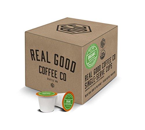 Real Good Coffee Co USDA Certified Organic Dark Roast Coffee K Cups 36 Count