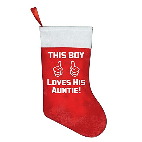 FQWEDY This Boy Loves His Auntie! Christmas Stockings Santa Claus Gift Bag Holiday Decorations Party Ornaments