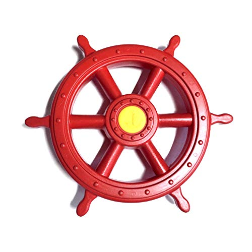 1 Stück h2i Steuerrad Schiffsruder Lenkrad beweglich in Rot für Kinder Spielturm