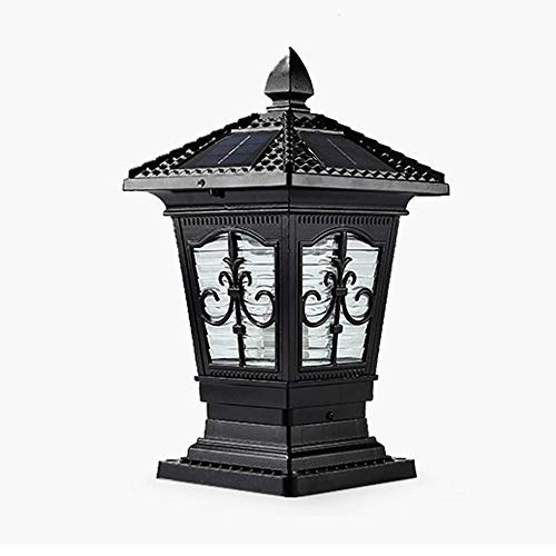 KMYX LED zonne-behuizing, aluminium behuizing, zwart, lichtzuil, deur, pilier, steen, retro-zuil lamp, moderne luxe collectie, koloniale stijl, buitenlantaarn Energy Saving A++