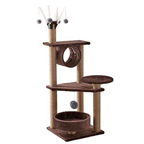 Tall Large Cats Tree with Hanging Ball and tunnel, Deluxe 3 Level Cat Climbing Frame Best for 2-3 Medium Cats, Easy to Assemble (Color : Style 4)