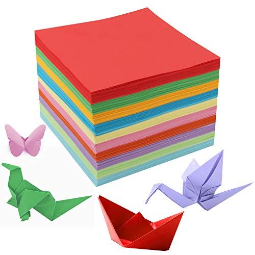 Belle Vous Papel Origami Doble Cara (1100 Hojas) 15 x 15 cm Hojas Cuadradas – 10 Colores Llamativos Papiroflexia para Niños y Adultos – Fácil Plegado – Proyectos de Manualidades