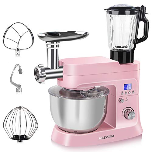 AILESSOM Stand Mixer with Meat Grinder and Juice Blender, 6 in 1 800W Tilt-Head 6.5 QT Multifunction Kitchen Stand Mixer, Digital Timer, 10 Speeds & Pulse, Dough Hook, Flat Beater, Whisk, Sausage/Cookie Press/Pasta maker