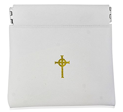 Coin Purse Style Rosary Pouch with Celtic Cross (White)