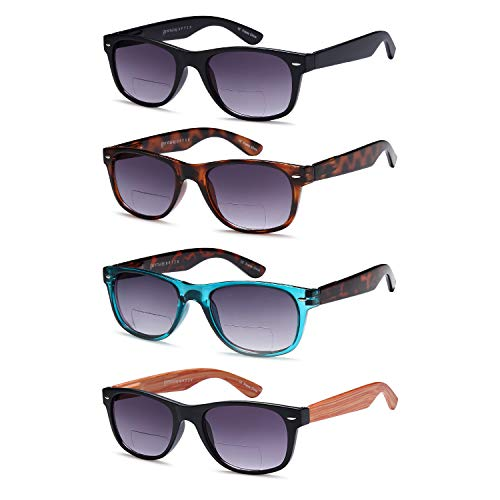 Gamma Ray Bifocal Sunglasses - 4 Pairs Reader Sunglasses 2.25 Reader for Sun