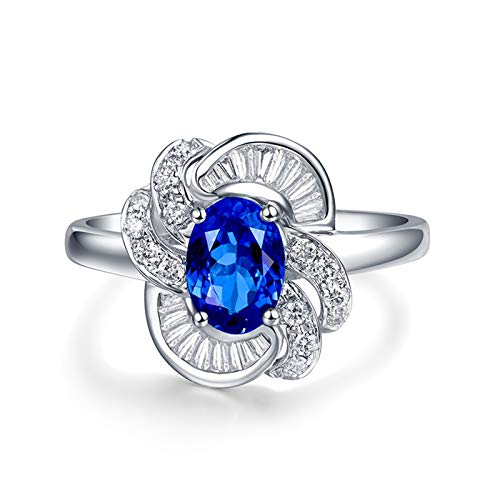 AnazoZ Anello Fedina Donna,Blu Argento Anelli Oro Bianco 18Kt Ovale Fiore Tanzanite Blu 0.78ct Diamante 0.37ct Misura dell'Anello 9