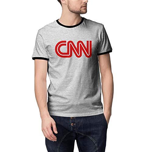 Wankens Mens Grey Tshirt Cotton Short Sleeve Style CNN-Logo- Tshirts