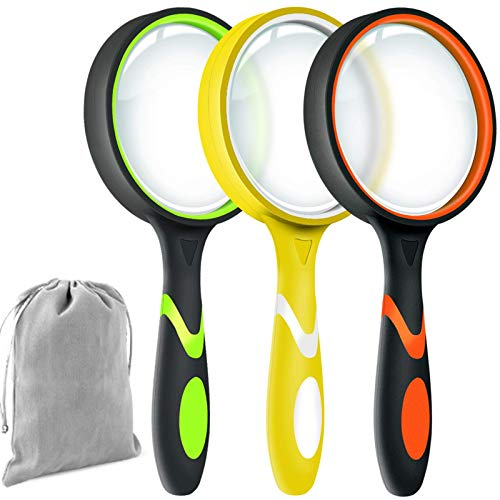 Leffis 3 Pack 10X Magnifier Magnifying Glass for Kids Reading, Non-Slip Handheld Magnified Glass, 75mm Large Magnifying Glasses for Close Work, Science and Hobby Observation (Felt Bag Included)