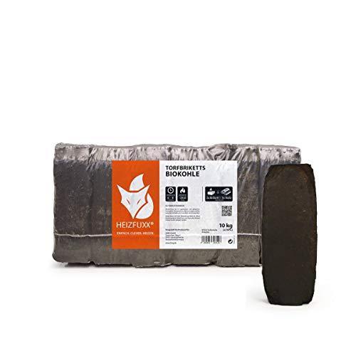 PALIGO Torfbriketts Ruf Bio Braunkohle Torf Gluthalter Dauerbrenner Kamin Ofen Brenn Holz Heiz Kohle Brikett 10kg x 3 Gebinde 30kg / 1 Karton Heizfuxx