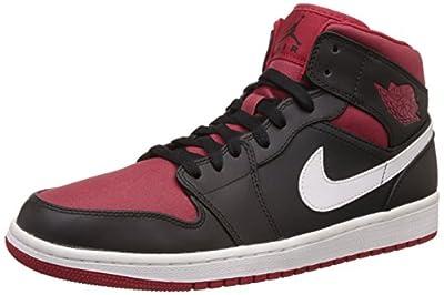 Nike Men's Air Jordan 1 Mid Black/Gym Red/White Basketball Shoe -