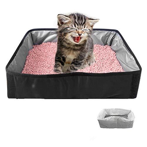 TANGN Caja de Arena para Gatos Plegable Grande con 10 Bolsas