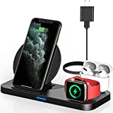 Powlaken 3 in 1 Wireless Charger, Wireless Charging Station Compatible for Apple iWatch Series SE 6 5 4 3 2 1, AirPods Pro 2, Wireless Charging Stand Dock for iPhone 11, 11 Pro Max, XR, XS, X