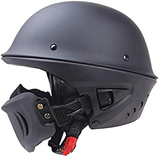 RISHIL WORLD Zombies Racing DOT Rogue Half Helmet Motorcycle Retro Locomotive Detachable Mask Matte Black Single Item.