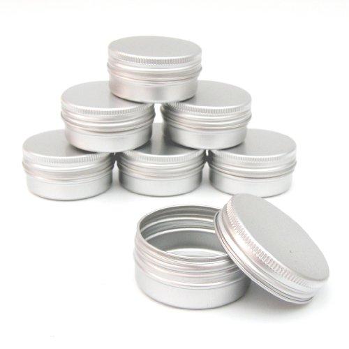 Lot de petits pots vides en aluminium pour baume, gloss, vernis, 15 ml , Aluminium, Silver, Small