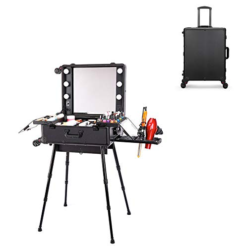ANGELA Makeup Station Train Case, Cosmetic Box, Professional Studio Rolling Box, with Mirror, Adjustable Leg and Light Brightness, Best Gift for Girls