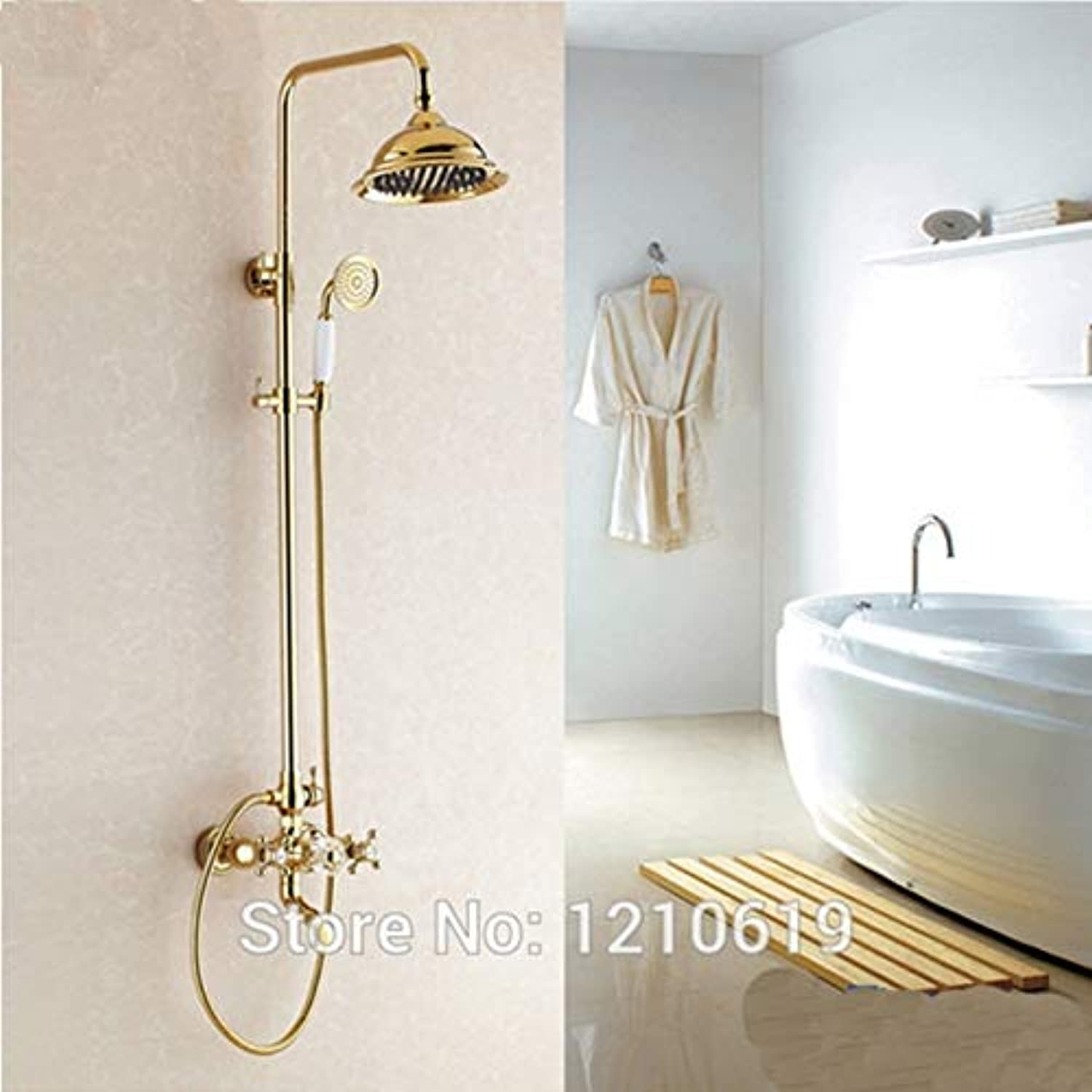 Newly US Free Shipping Wholesale And Retail Luxury Golden Polish Rainfall Shower Head Crystal Handle Shower Faucet Set Mixer Tap