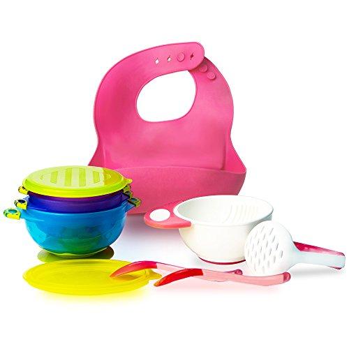 RyanLemon Baby Feeding Suction Bowl With Lid Silicone Bib Mash Bowl Spoons Pink