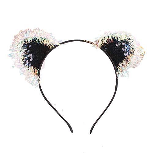 KKP European and American Laser Bright Silk Flip Sequin Cat Ear Band Mode Headdress