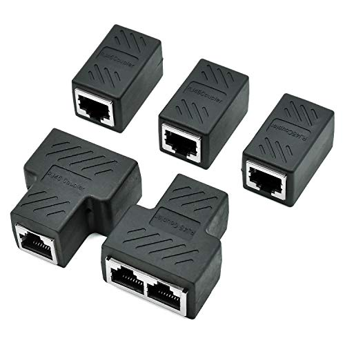 COCOCITY Conectores Splitter RJ45 Adaptador 1 a 2 Ethernet Splitter Coupler Enchufe Doble HUB Interface Contacto Modular Plug Connect Red LAN Internet Cat5 Cat5e Cat6 Cat7 Cables 5 Pack