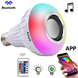 Asiawill E27 Smart Bluetooth Speaker LED Music Bulb Wireless App + Remote Controlled LED RGBW Light Ball Bulb Colorful Lamp Built-in Audio Speaker Music Player with Remote Control