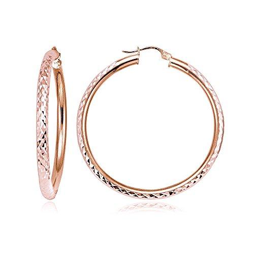 Aros y loops oro rosa Pendientes de Flash de plata 3mm redondo de corte de diamante pendientes de aro, todos los tamaños