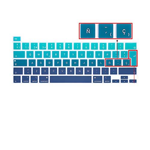 Para MacBook Pro13 M1 2020 New Pro16 Keyboard Cover Soft with ñ Spanish Protector Keyboard Protective Film A2338 A2289 A2251A2141-EU Green Plus ES