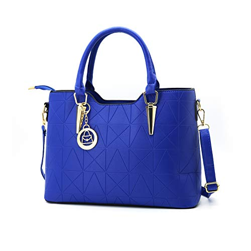 LIZHIGU Womens Leather Shoulder Bag Tote Purse Fashion Top Handle Satchel Handbags Royal Blue