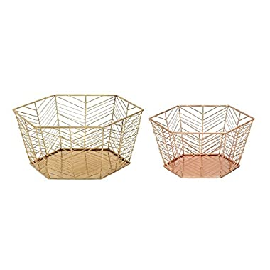 Deco 79 54715 Metal Storage Basket (Set of 2), 8 /10 W