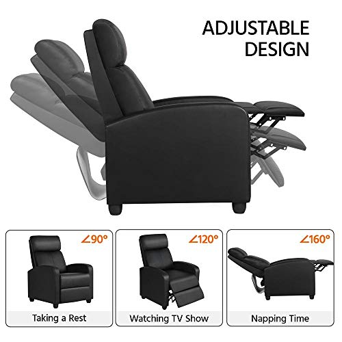 Yaheetech Recliner Arm chair Single Padded Seat PU Leather Sofa Lounge Home Living Room Theater Seating W/Adjustable Leg Rest and Reclining Functions