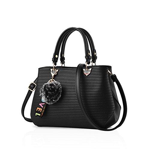 Nicole&Doris Exquisite Damen-Handtaschen Schultertasche Crossbody aus PU-Leder, Schwarz (Schwarz) - ND-TX007