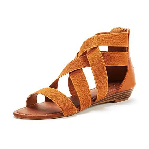 DREAM PAIRS Women's Elastica8 Tan Elastic Ankle Strap Low Wedges Sandals Size 11 M US