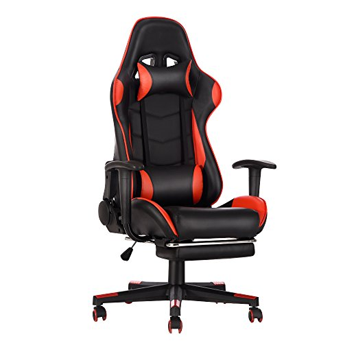 Gaming Chair, Racing Style Office High Back Ergonomic Conference Work Chair Reclining Computer PC Swivel Desk Chair 170 Degree Reclining Angle with Headrest, Lumbar Cushion & Footrest (Red)