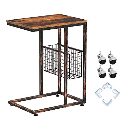 Rolanstar Side Table, C End Table, Mobile Snack Table with Storage Basket and Wheels, Industrial Side Table for Living Room, Bedroom, Couch, Sofa, Bed and Small Space, Rustic Brown