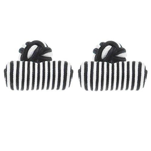 HONEY BEAR 1 Paar Herren/Damen Seide Stoff Knoten Seidenknoten Zylinder Manschettenknöpfe für Hemd/Kleid zum,MEHRWEG (schwarz)