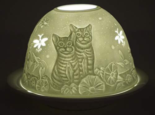 CBK-MS. Dom Light Teelicht Kätzchen Katzen Windlicht Porzellan Teelichthalter ca. Ø 12 cm Höhe 8,5 cm