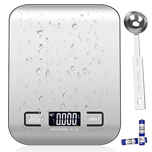 Balance de Cuisine Electronique, Küchenchef Balance de Précision Alimentaire pour Patisserie, Acier Inoxydable/Écran LCD Rétroéclairé/Tare-5KG(2 Batteries Incluses))