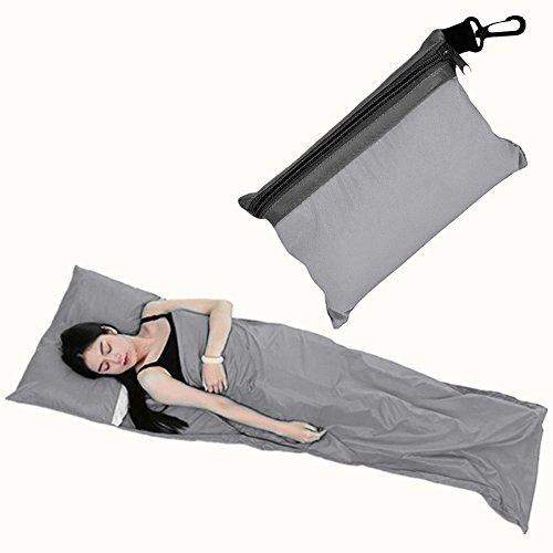 210 x 70 cm Adulte Drap de sac de couchage en microfibre, sac doublure ultra léger, chaud, confort, Compact et Chaud Sac couchage rectangulaire en été