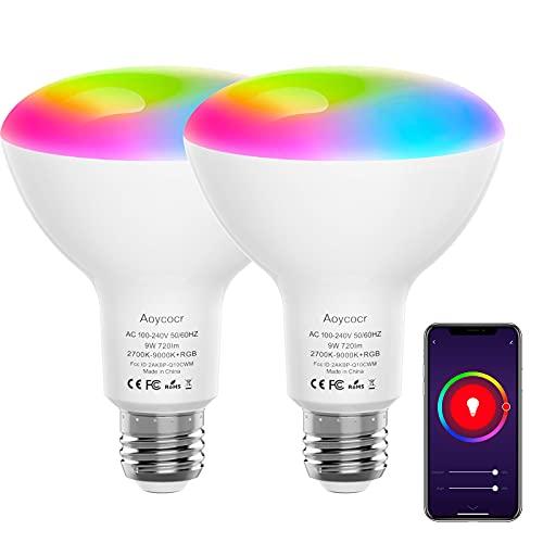 Bombilla LED Inteligente WiFi E27, Aoycocr Lámpara WiFi 9W 720LM, Bombilla Inteligente Multicolor Regulable Control por Aplicación, Compatible con Alexa Echo Google Home
