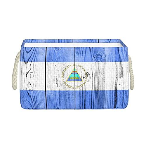 Aufbewahrungskörbe, Flagge von Nicaragua, Holz, faltbar, dekorative Körbe, Organisationsbox mit Handgriffen für Kleidung, Aufbewahrungsregal, Zuhause, Schrank, Schlafzimmer, 40 x 25 x 20 cm
