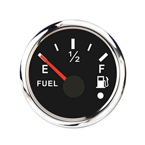 Almencla Boot Edelstahl Tankanzeige Tankgeber Tankuhr mit Hinterbeleuchtung und Gebogenem Glas