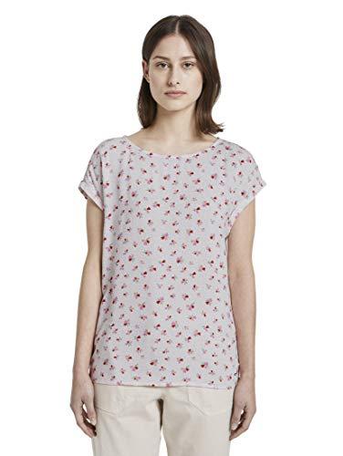 TOM TAILOR Denim Damen Sporty AOP Bluse Tunika-Shirt, 21350-light Flower Print, XXL